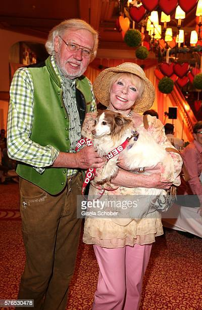 Elke Sommer and her husband Wolf Walther and dog Smiley during a bavarian evening ahead of the Kaiser Cup 2016 on July 15 2016 in Bad Griesbach near...