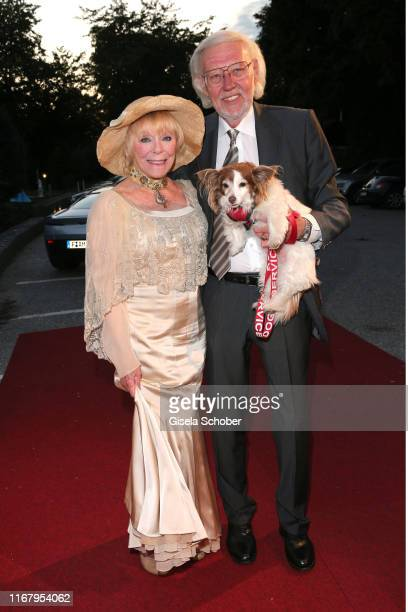 Elke Sommer and her husband Wolf Walther and dog Smiley during the EAGLES Praesidenten Golf Cup Gala Evening on September 13 2019 in Bad Griesbach...