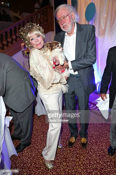 Elke Sommer and her husband Wolf Walther and dog Smiley during the Kaiser Cup 2016 gala on July 16 2016 in Bad Griesbach near Passau Germany