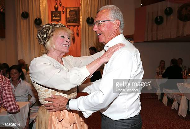 Elke Sommer Franz Beckenbauer during a Bavarian Evening ahead of the Kaiser Cup 2015 on July 10 2015 in Bad Griesbach near Passau Germany
