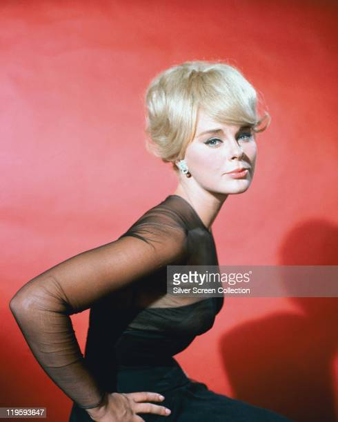Elke Sommer, German actress, wearing a black dress with black chiffon sleeves in a studio portrait, against a red background, circa 1965.