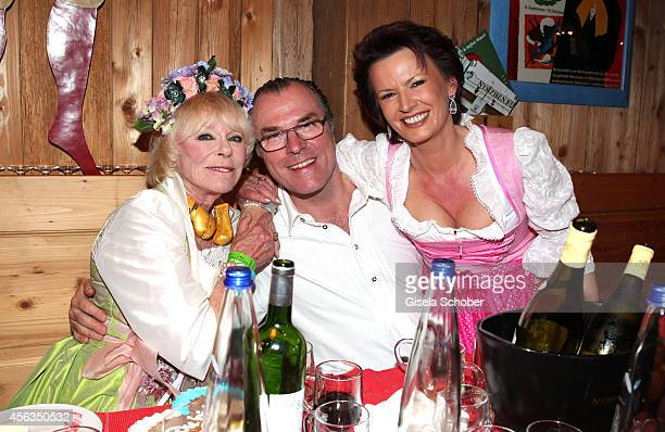 Elke Sommer , President of Schalke 04, Clemens Toennies and his wife Margit Toennies during Oktoberfest at Weinzelt/Theresienwiese on September 29,...