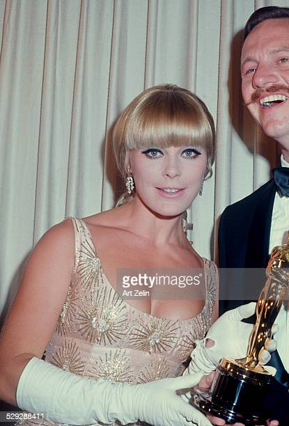 Elke Sommer with an Oscar; circa 1970; New York.