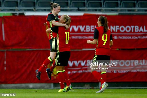 Elke van Gorp of Belgium celebrates the first goal with Janice Cayman during the Women's International Friendly match between Belgium and Japan at...