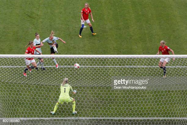Elke Van Gorp of Belgium scores her teams first goal of the game during the UEFA Women's Euro 2017 Group A match between Norway and Belgium at Rat...