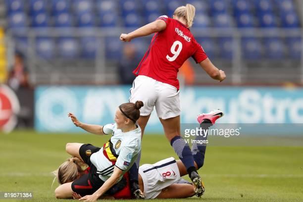 Elke Van Gorp of Belgium women Andrine Hegerberg of Norway women Elise Hove Thorsnes of Norway women during the UEFA WEURO 2017 Group A group stage...