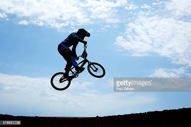 Elke Vanhoof of Belgium competes in the Women's BMX Time Trial qualifying during day fourteen of the Baku 2015 European Games at the BMX Velopark on...