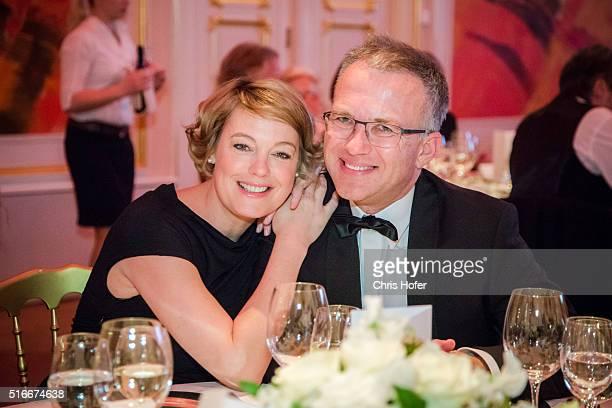 Elke Winkens and Bert Ortner attend Karl Spiehs 85th birthday celebration on March 19 2016 in Vienna Austria