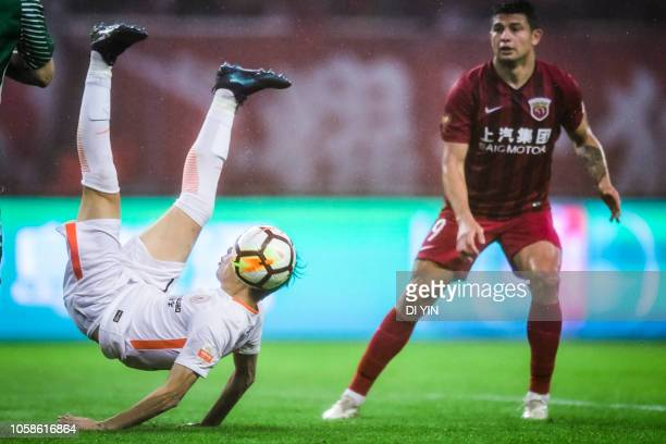 Elkeson de Oliveira Cardoso of Shanghai SIPG reacts during the 2018 Chinese Super League title match between Shanghai SIPG v Beijing Renhe at...