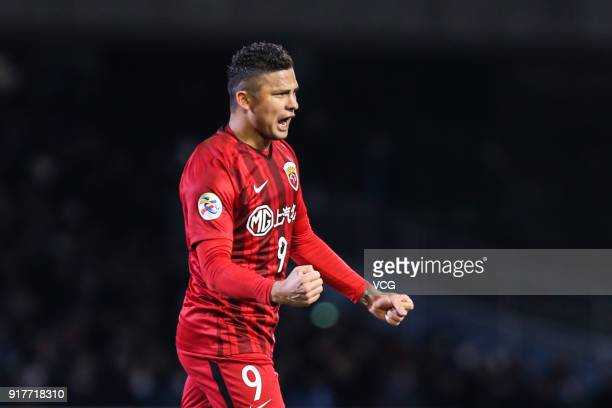 Elkeson of Shanghai SIPG celebrates a goal during the 2018 AFC Champions League Group F match between Kawasaki Frontale and Shanghai SIPG at Todoroki...