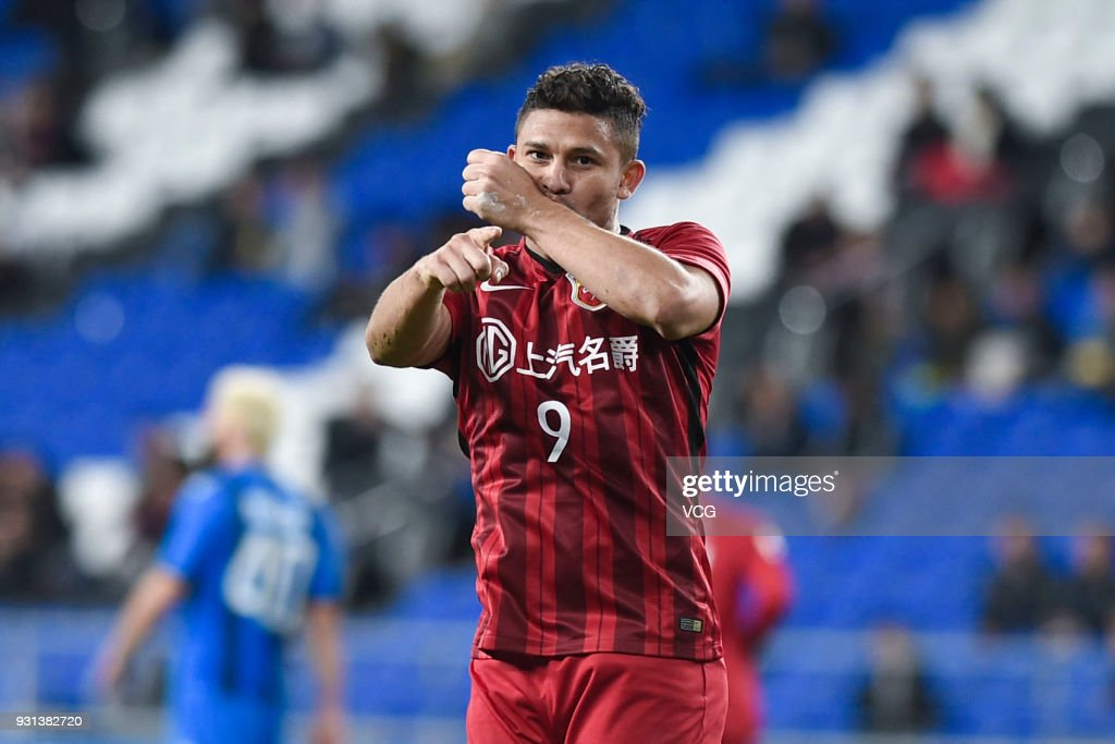 Elkeson #9 of Shanghai SIPG celebrates after scoring a goal during the 2018 AFC Champions League Group F match between Ulsan Hyundai FC and Shanghai SIPG at the Ulsan Munsu Football Stadium on March 13, 2018 in Ulsan, South Korea.