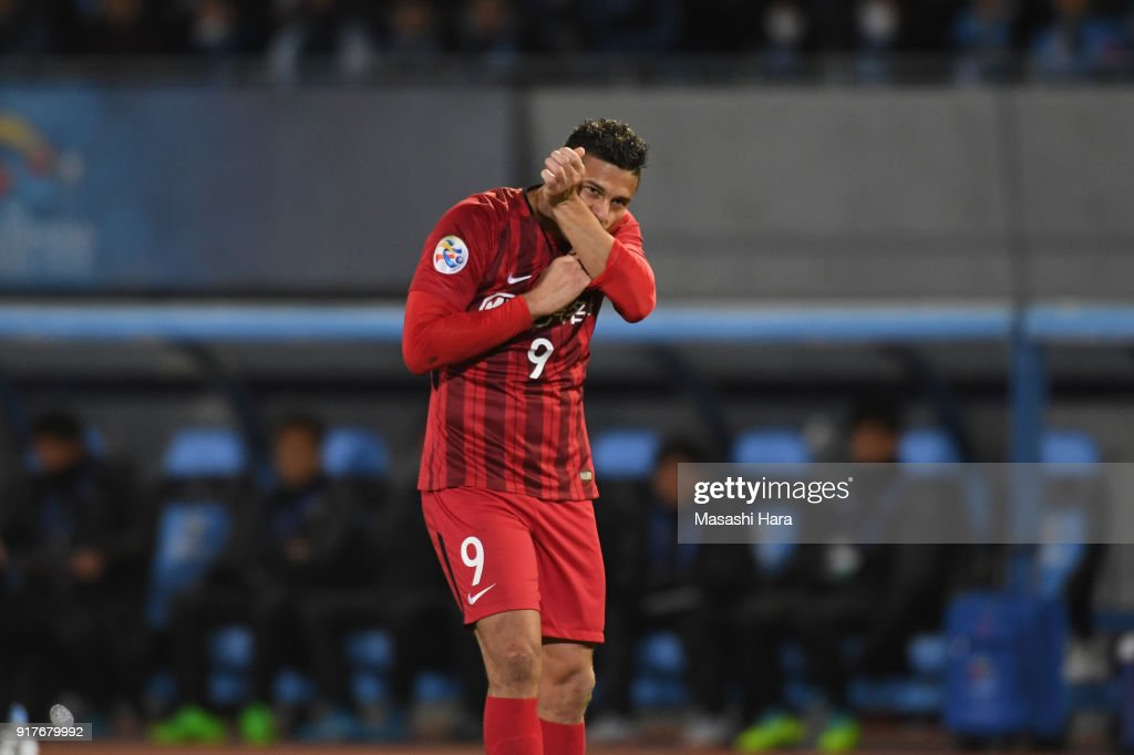 Elkeson of Shanghai SIPG celebrates scoring the opening goal during the AFC Champions League Group F match between Kawasaki Frontale and Shanghai SIPG at Todoroki Stadium on February 13, 2018 in Kawasaki, Kanagawa, Japan.