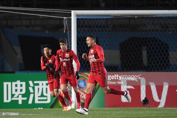 Elkeson of Shanghai SIPG celebrates scoring the opening goal during the AFC Champions League Group F match between Kawasaki Frontale and Shanghai...