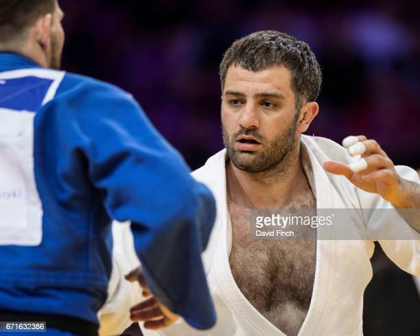 Elkhan Mammadov of Azerbaijan defeated Cyrille Maret of France by an ippon to win the u100kg gold medal during the 2017 Warsaw European Judo...