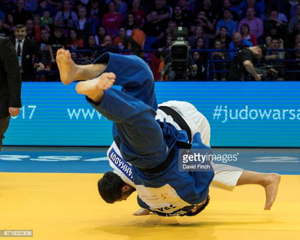 Elkhan Mammadov of Azerbaijan throws Cyrille Maret of France for an ippon to win the u100kg gold medal during the 2017 Warsaw European Judo...
