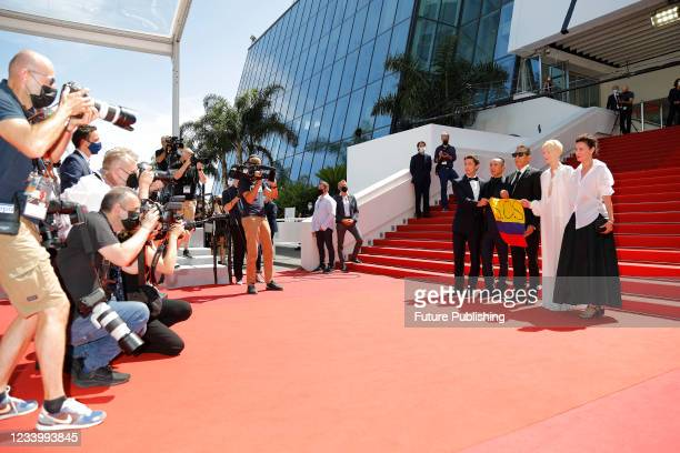 Elkin Diaz, Apichatpong Weerasethakul, Juan Pablo Urrego, Tilda Swinton, Jeanne Balibar arrives at the premiere of 'Menoria' during the 74th Cannes...