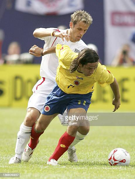 Elkin Soto gets away from Phil Neville at Giants Stadium in East Rutherford NJ on May 31 2005 England defeats Columbia 32