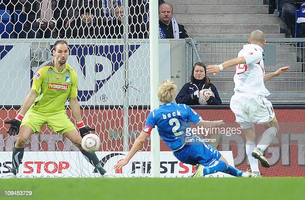 Elkin Soto of FSV Mainz 05 scores the 21 leading goal against Tom Starke and Andreas Beck of 1899 Hoffenheim during the Bundesliga match between 1899...