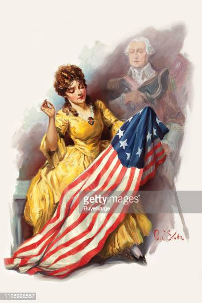 Elks magazine illustration features Betsy Ross as a young woman as she sews the first American flag watched over by a George Washington 1927 The...