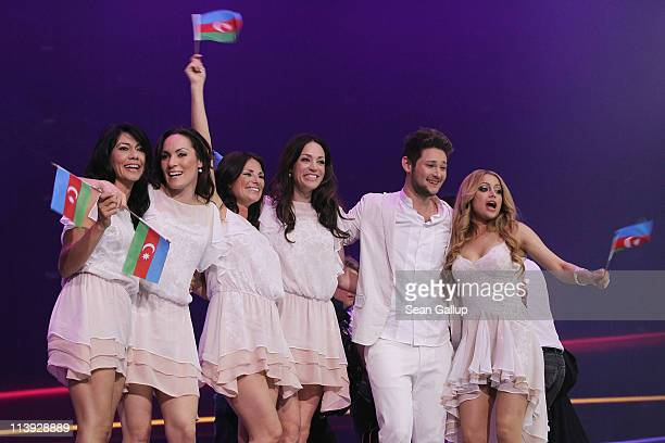 Ell and Nikki from Azerbaijan celebrate after making it into the final round after the first semifinals of the Eurovision Song Contest 2011 on May 10...