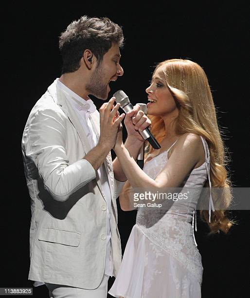 Ell and Nikki from Azerbaijan peform at a dress rehearsal the day before the first semifinals of the Eurovision Song Contest 2011 on May 9 2011 in...