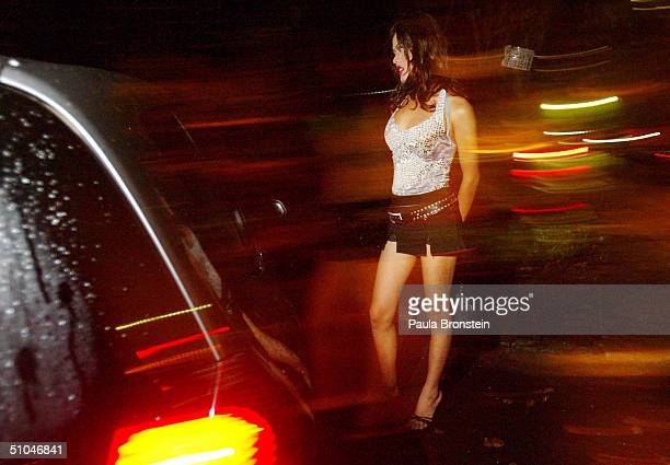 Ella a transsexual prostitute works the streets July 10 2004 in Jakarta Indonesia A recent report issued by the Joint United Nations Program on...