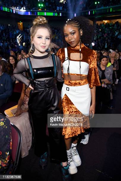Ella Anderson and Riele Downs attend Nickelodeon's 2019 Kids' Choice Awards at Galen Center on March 23, 2019 in Los Angeles, California.