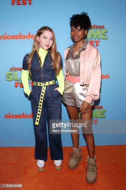 Ella Anderson and Riele Downs attend Nickelodeon's Second Annual SlimeFest at Huntington Bank Pavilion on June 08 2019 in Chicago Illinois