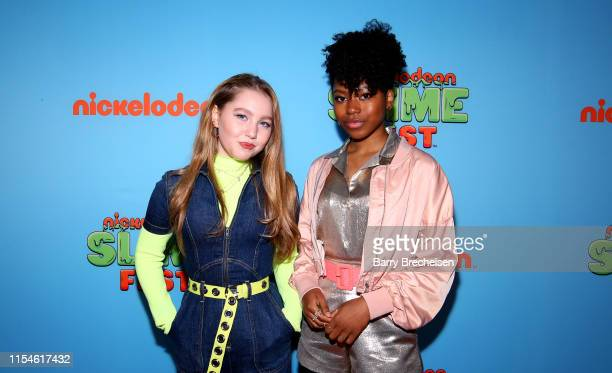 Ella Anderson and Riele Downs attend Nickelodeon's Second Annual SlimeFest at Huntington Bank Pavilion on June 08, 2019 in Chicago, Illinois.