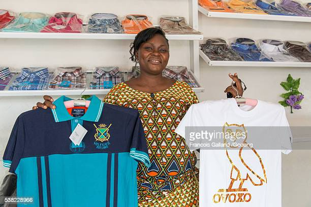 Ella Assoukou runs a shop financed by Alide microfinance.