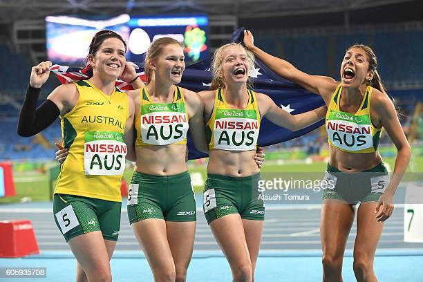Ella Azura Pardy Isis Holt Jodi ElkingtonJones and Erin Cleaver of Australia celebrate after winning in the women's 4x100 meter T3538 final during on...
