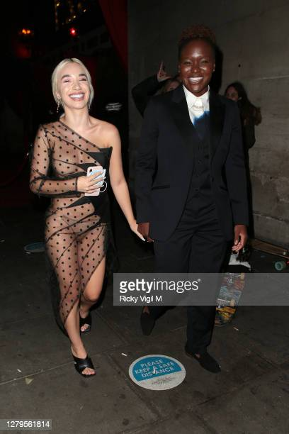 Ella Baig and Nicola Adams seen leaving Proud Enbankment after Cabaret All Stars show on October 10, 2020 in London, England.