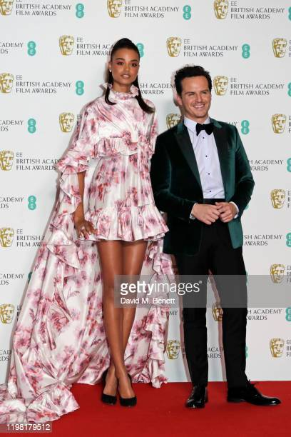 Ella Balinska and Andrew Scott pose in the Winners Room at the EE British Academy Film Awards 2020 at Royal Albert Hall on February 2, 2020 in...