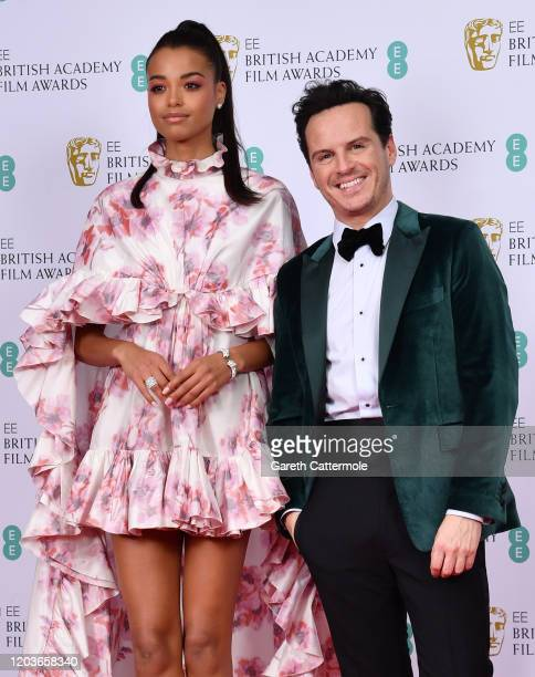 Ella Balinska and Andrew Scott poses in the Winners Room during the EE British Academy Film Awards 2020 at Royal Albert Hall on February 02, 2020 in...