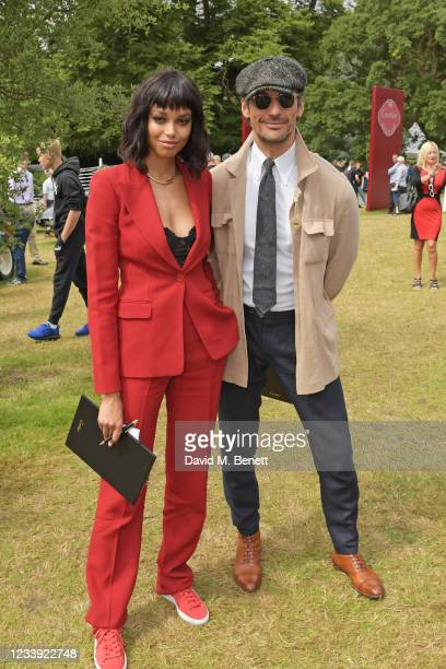 Ella Balinska and David Gandy attend Cartier Style Et Luxe at the Goodwood Festival Of Speed at Goodwood Racecourse on July 11, 2021 in Chichester,...