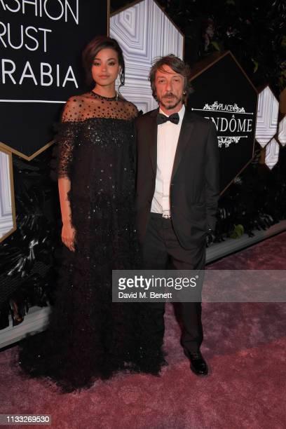 Ella Balinska and Pierpaolo Piccioli attend the Fashion Trust Arabia Prize awards ceremony on March 28, 2019 in Doha, Qatar.