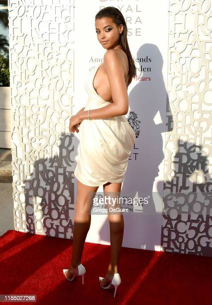 Ella Balinska arrives at the American Friends Of Covent Garden 50th Anniversary Celebration at Jean-Georges Beverly Hills on July 10, 2019 in Beverly...