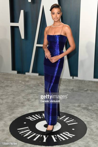 Ella Balinska attends the 2020 Vanity Fair Oscar party hosted by Radhika Jones at Wallis Annenberg Center for the Performing Arts on February 09,...