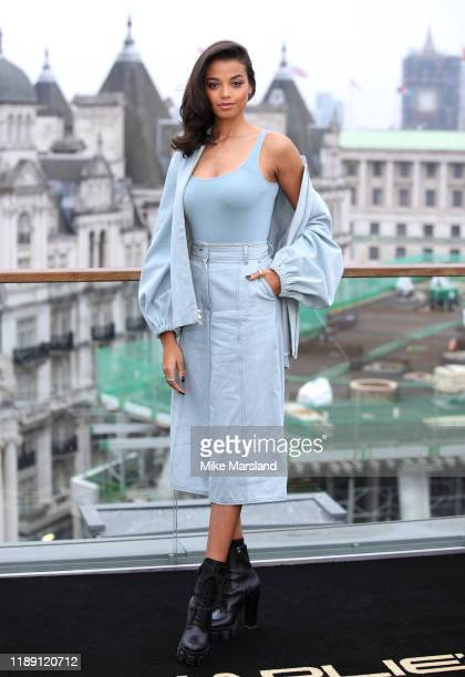 "Ella Balinska attends the ""Charlie's Angels"" photocall at The Corinthia Hotel on November 21, 2019 in London, England."