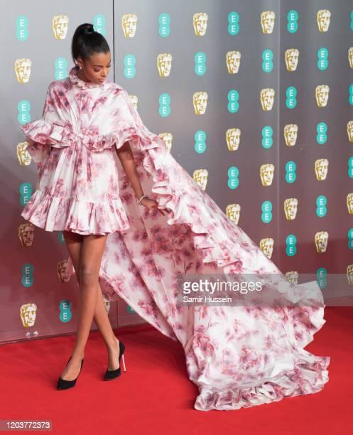 Ella Balinska attends the EE British Academy Film Awards 2020 at Royal Albert Hall on February 02, 2020 in London, England.