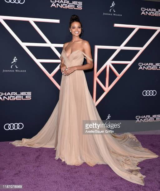 "Ella Balinska attends the Premiere of Columbia Pictures' ""Charlie's Angels"" at Westwood Regency Theater on November 11, 2019 in Los Angeles,..."