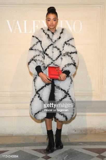 Ella Balinska attends the Valentino Haute Couture Spring Summer 2019 show as part of Paris Fashion Week on January 23 2019 in Paris France