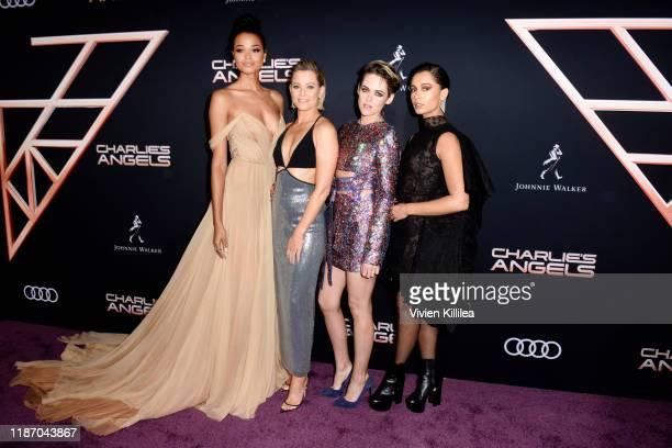 Ella Balinska Director Elizabeth Banks Kristen Stewart and Naomi Scott attend Audi Arrivals at The World Premiere of Charlie's Angels on November 11...