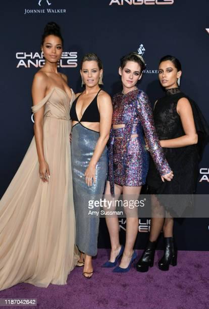 "Ella Balinska, Elizabeth Banks, Kristen Stewart, and Naomi Scott attend the premiere of Columbia Pictures' ""Charlie's Angels"" at Westwood Regency..."