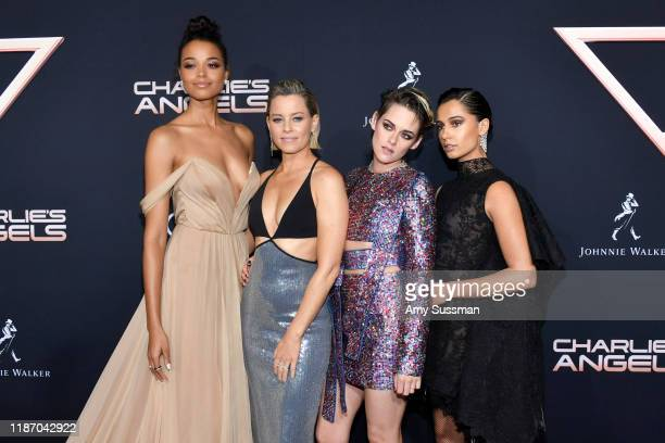 Ella Balinska Elizabeth Banks Kristen Stewart and Naomi Scott attend the premiere of Columbia Pictures' Charlie's Angels at Westwood Regency Theater...