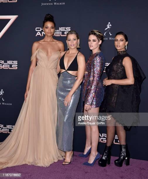 "Ella Balinska, Elizabeth Banks, Kristen Stewart and Naomi Scott attend the Premiere of Columbia Pictures' ""Charlie's Angels"" at Westwood Regency..."