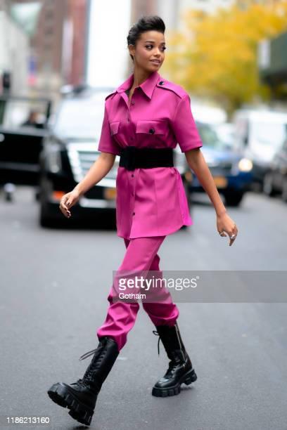 Ella Balinska is seen in Midtown on November 07 2019 in New York City