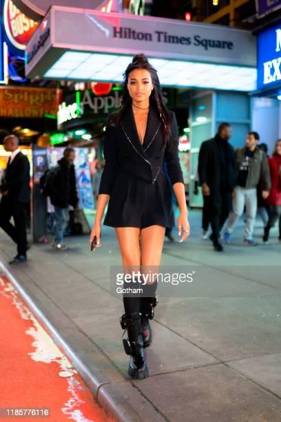 Ella Balinska is seen Philosophy with Prada boots in Midtown on November 05, 2019 in New York City.
