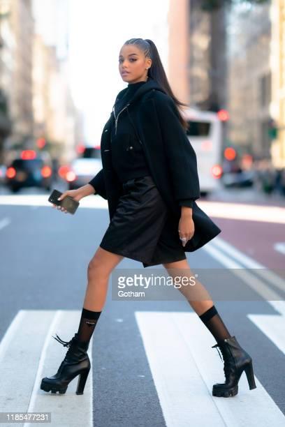 Ella Balinska is seen wearing Prada in Midtown on November 04 2019 in New York City