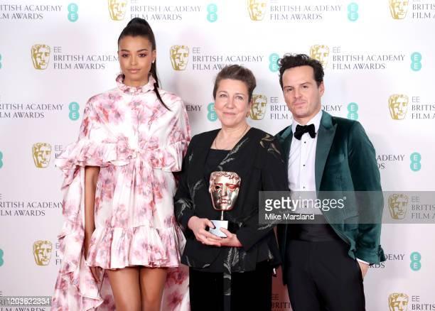 "Ella Balinska, Jacqueline Durran, winner of Best Costume Design for ""Little Women"", and Andrew Scott pose in the Winners Room during the EE British..."
